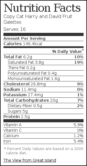 Nutrition label for Copy Cat Harry and David Fruit Galettes