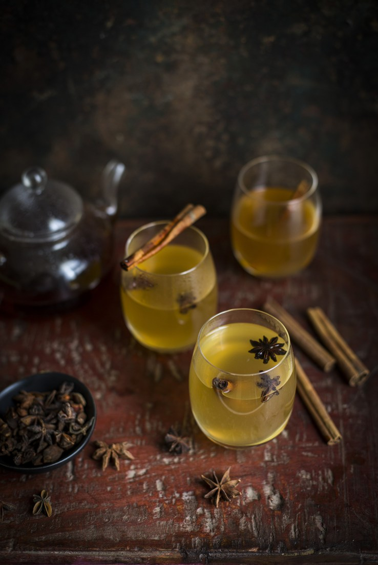 Warm Cocktail with Lapsang Souchong Tea, Whiskey, and Lemon Cordial