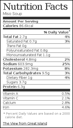 Nutrition label for Miso Soup