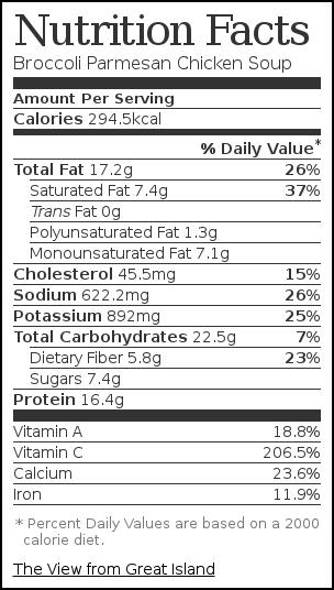 Nutrition label for Broccoli Parmesan Chicken Soup
