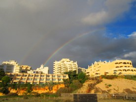 Our hotel with the rainbows as the backdrop