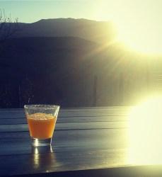 winter sunrise and orange juice
