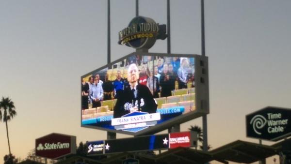 Frank Sinatra Jr. sings the national anthem at the Dodgers game