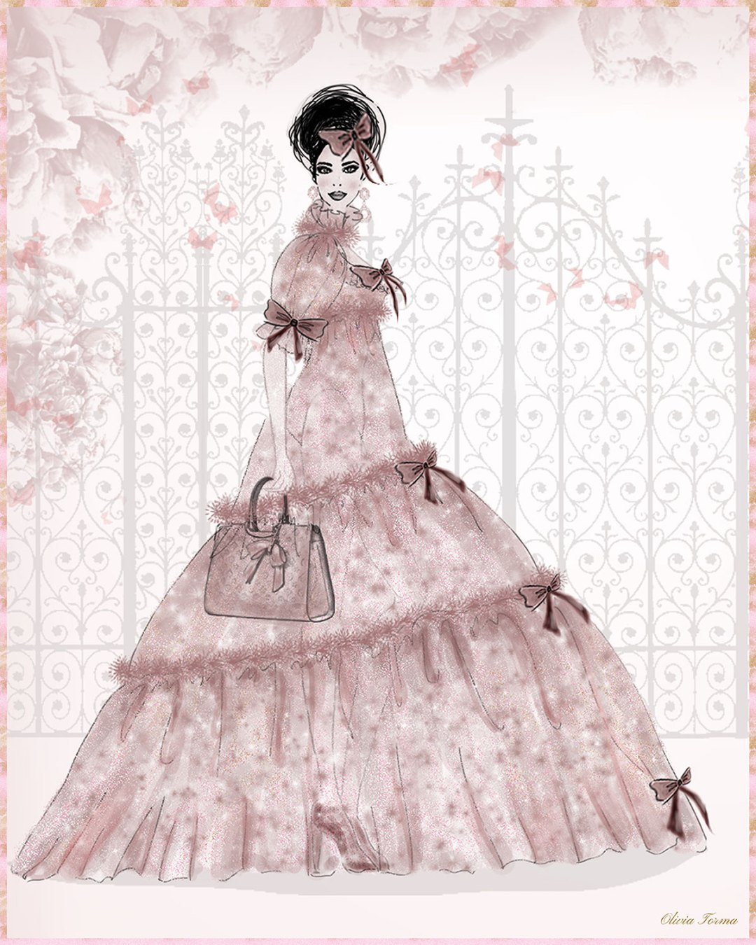 Peony Rose Chiffon Ball Gown Portrait by The Vintage Couturiere