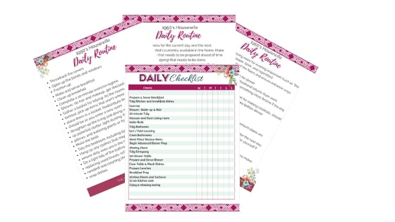 A display of PDFS fanned out on a white background. Documents include the  The Vintage Housewife Daily Routine FREE Printable PDF, and a daily checklist