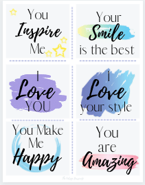 a uncut page of compliment card printables