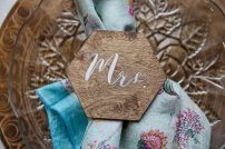 Hexagon Mr & Mrs Name Card, Boho Wood Charger made by TLC Engraving
