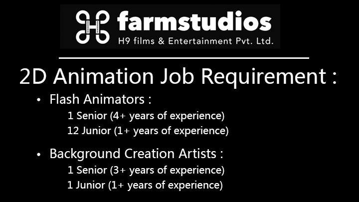 flash animator job at farm studios