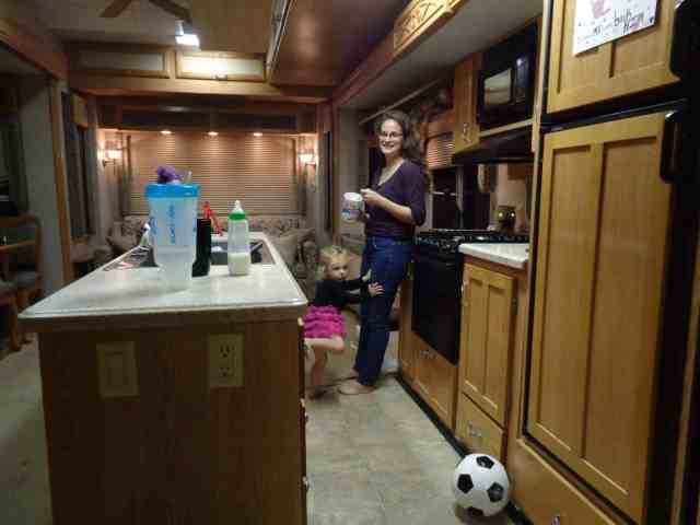 View of the kitchen of the RV