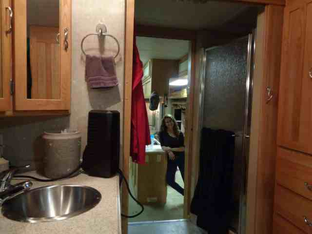 Bathroom view of the RV
