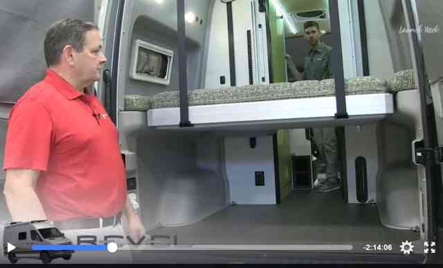 winnebago revel bed comes down from the ceiling