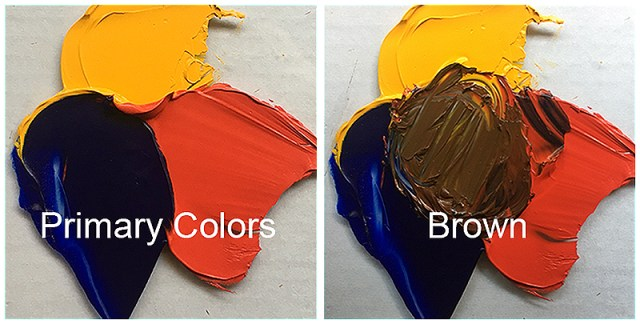 Primary colors mixed to make brown