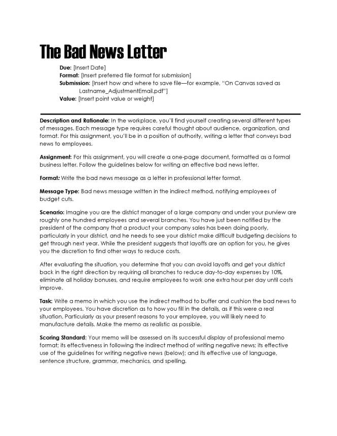 Bad News Business Letter Gallery Examples Ideas How To Write A Good