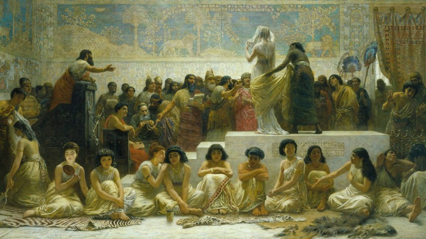 "Painting: ""The Bablyonian Marriage Market."" Artist: Edwin Long. Year: 1875."