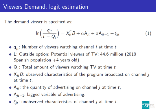 Logit estimation of Viewers Demand. Download the paper to read text version.