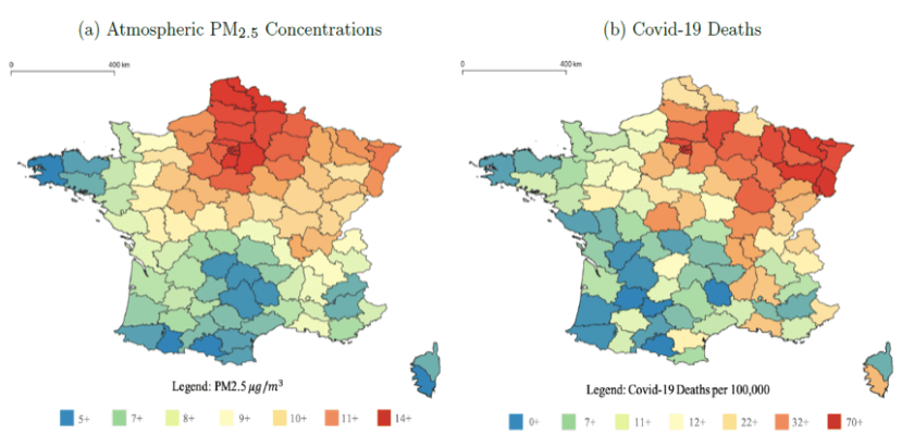 A map of air pollution and a map of Covid deaths in France