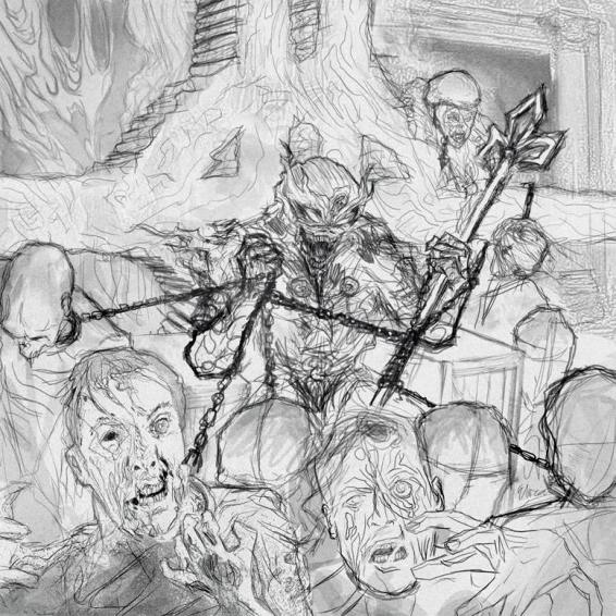 "Sketch for Iced Earth's album, ""Plagues of Babylon,"" by Eliran Kantor"