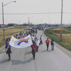 """March at Norway House Cree Nation in support of Jordan's Principle, May 10, 2016. The """"child first"""" principle is named after Jordan River Anderson who died at the age of 5 and unnecessarily spent his entire childhood in foster care."""