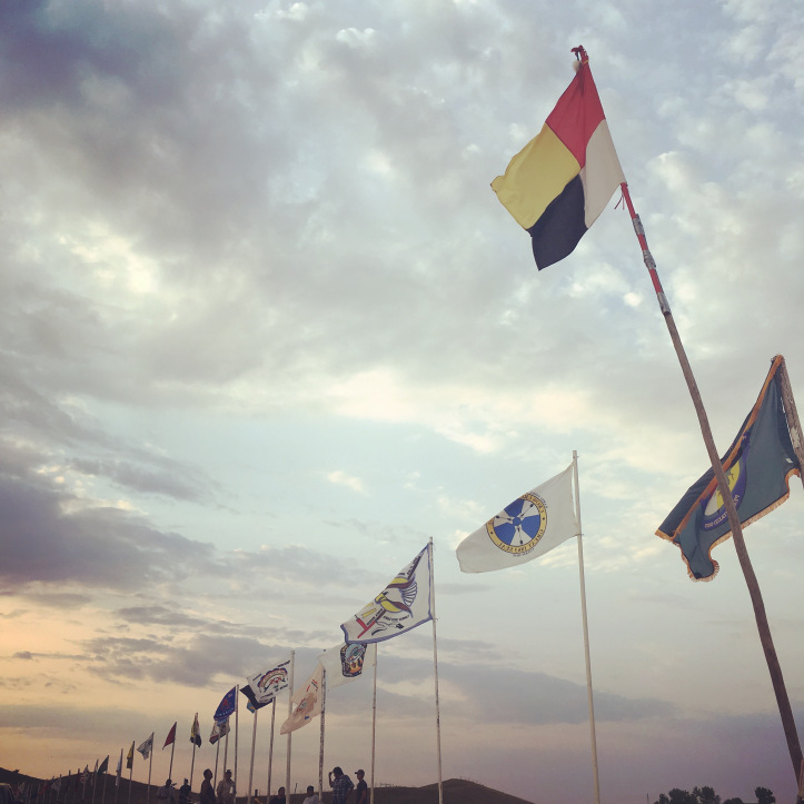 """The #NoDAPL """"United Nations"""" of Native Nation flags"""