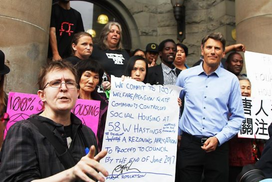 Our Homes Can't Wait Campaign with a signed agreement from Mayor Gregor Robertson.