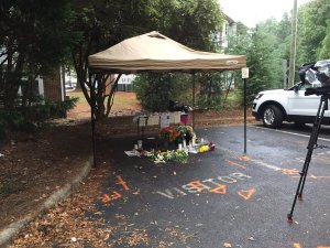 The memorial at the place where Keith Lamont Scott was shot in Charlotte, North Carolina.