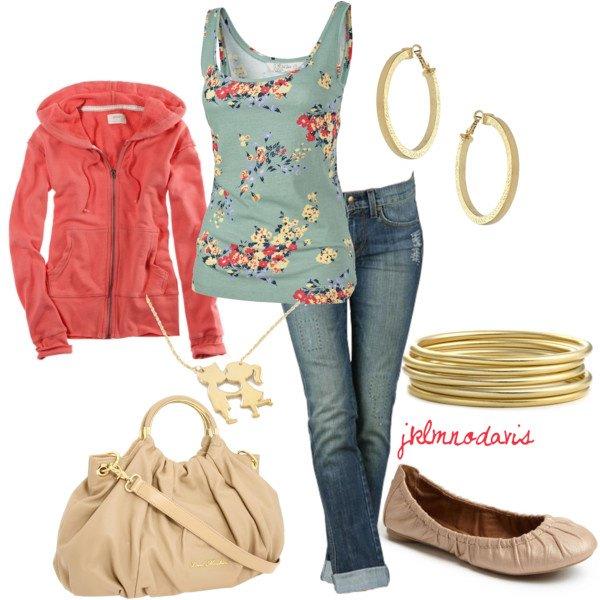 Unha aparencia de moda de abril 2012 con puerro vermello, pantalóns vaqueiros e bombas brillantes. Busque e compare as imaxes relacionadas.