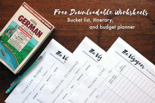 FREE DOWNLOADABLE: Organize your next vacation and stay on budget with these worksheets from The Voyageer!