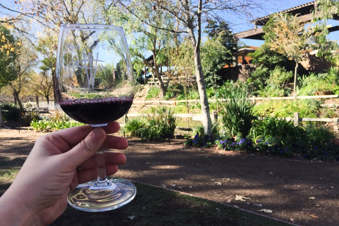 A tasting of red wine at Wilson Creek Winery