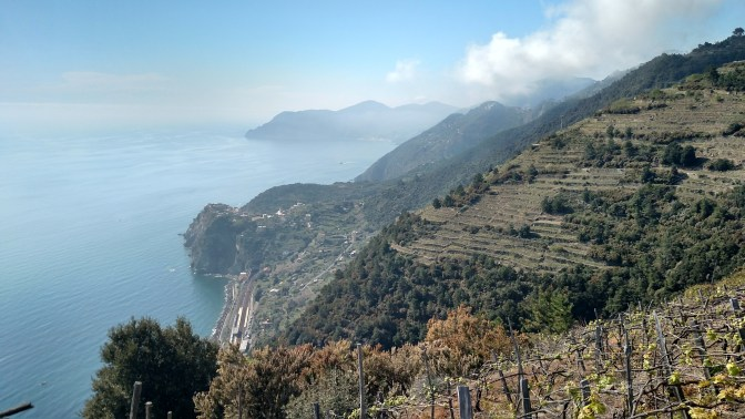 view of Corniglia on the hike