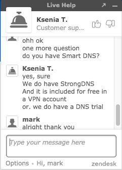 Support 1 StrongVPN