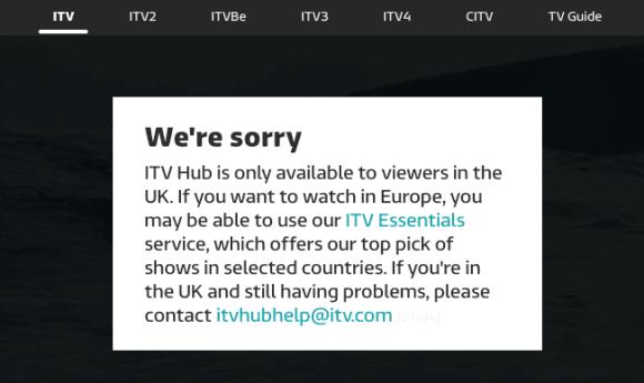 ITV Hub Geo-Location Error outside UK