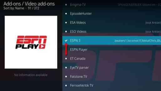 ESPN3 on Kodi