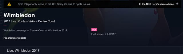 Free Wimbledon Stream Geoblocked outside UK