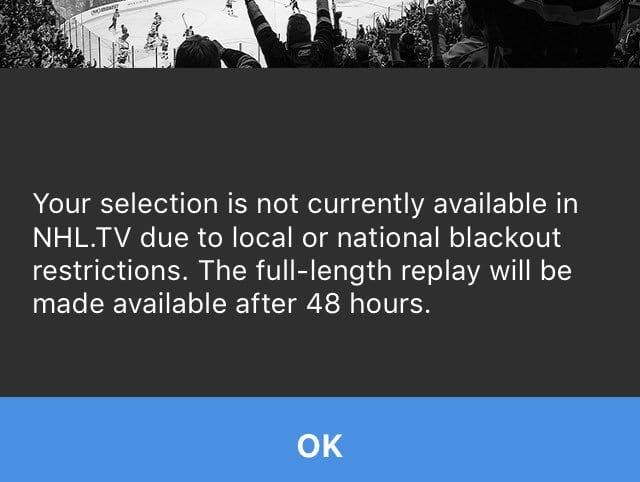 NHL.TV Blackout Message