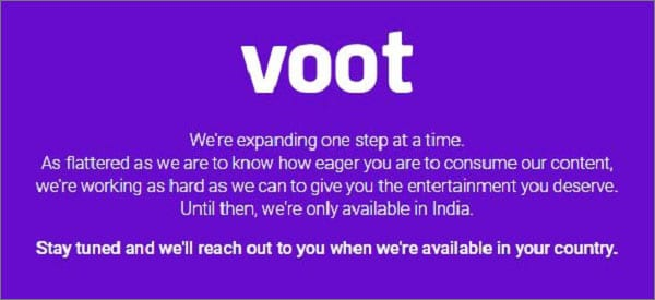 Voot Error Message