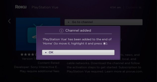 PlayStation Vue channel added