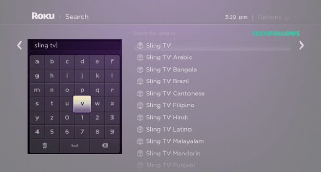 Search Sling TV Roku