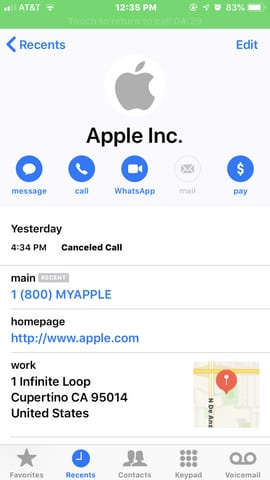 Support Line Phishing Scam - Apple Inc Spoof