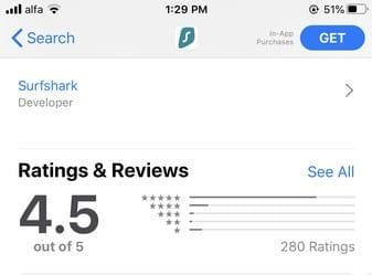 SurfShark iOS Rating