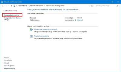 Change Adapter Settings WIndows 10
