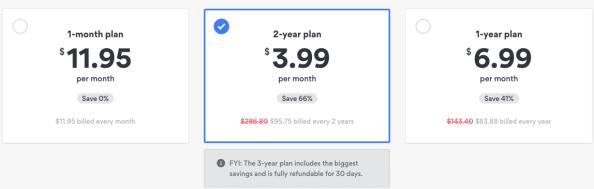 NordVPN, Choose a Plan