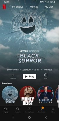Netflix Android Main Page