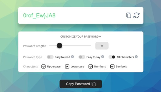 Create Password via Generator
