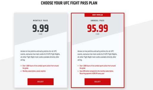 Fight Pass in Canada