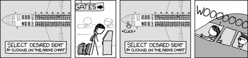 cartoon of selecting airplane seat