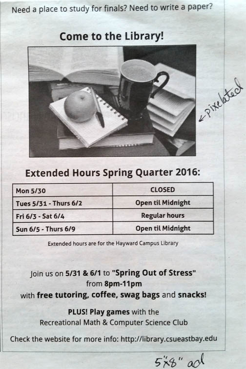 current ad for extended hours in library