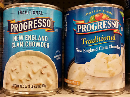 photograph of two cans of clam chowder
