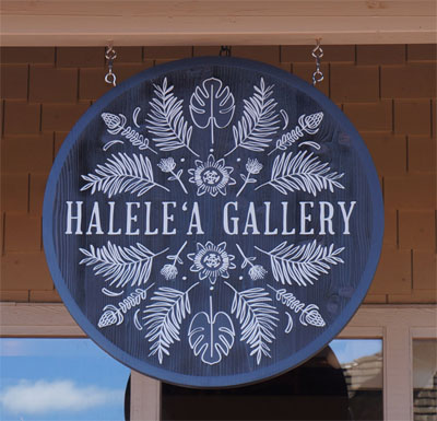 photograph of sign for Halele'a Gallery