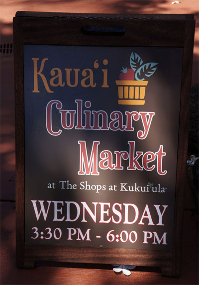 photograph of Kaua'i culinary market sign