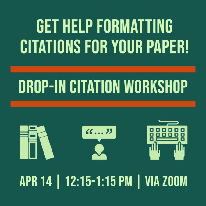 Instagram post for a drop-in citation workshop showing the use of a template